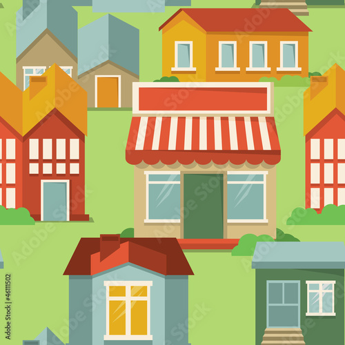 Tuinposter Op straat seamless pattern with cartoon houses
