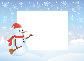 Snowman pointing to the white board.