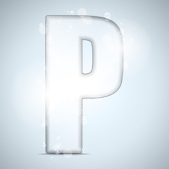 Alphabet Glass Shiny with Sparkles on Background Letter P