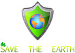 save Green Earth Planet on metal shield button