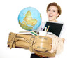 Female student carrying a globe, a bag and a laptop for moving