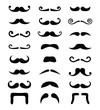 Moustache icons isolated set