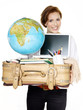 Student carrying a lot of things to start a new stage of life