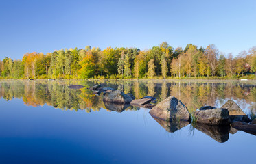 Autumn lake details with reflection effect