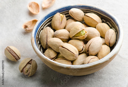 Pistachios in ceramic bowl