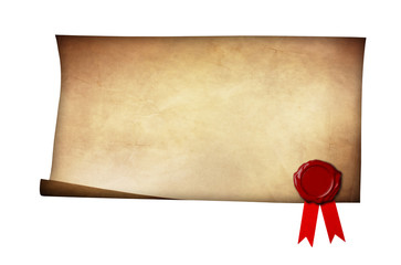 Grunge paper with wax seal and ribbon isolated on white backgrou
