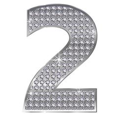 2 数字 銀 シルバー ダイヤモンド