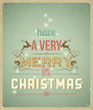 Typography Christmas Greeting Card.