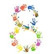 Ziffer 8 aus bunten Kinderhänden (Foto-Collage)