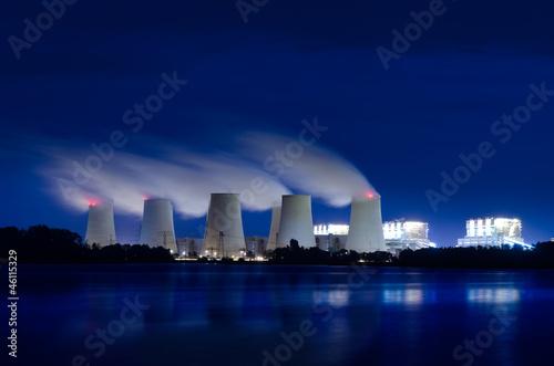 canvas print picture Braunkohlekraftwerk am Abend.