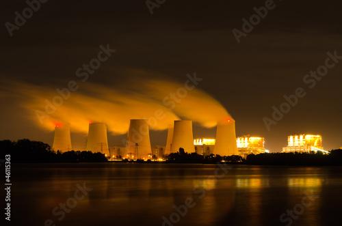 canvas print picture Braunkohlekraftwerk am Abend