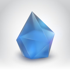Blue crystal (Vector illustration of a realistic gemstone)