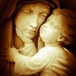 Vintage image of the virgin Mary carrying baby Jesus - 46116101