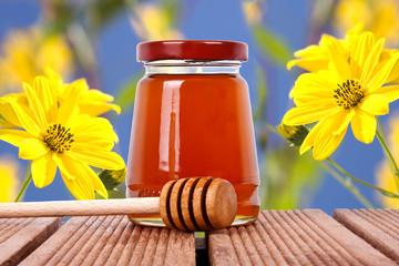 miel natural con flores