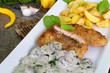 Schnitzel Wiener Art mit Rahmchampignons an Kartofelspalten