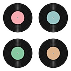 four vinyl records on white background
