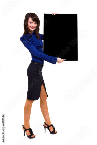 young business woman showing blank signboard
