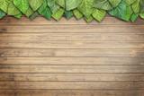 Blätter auf Holzhintergrund
