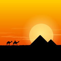 Camel Caravan and Pyramid