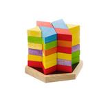 Wooden toy bricks isolates on white