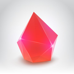 Red crystal (Vector illustration of a realistic gemstone)