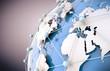 concepto de internet y trabajo en red con mapa del mundo