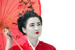 Geisha with umbrella looking up, isolated