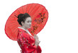 Geisha with red umbrella, portrait, isolated on white