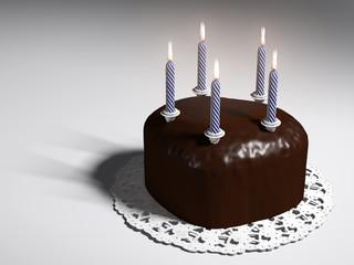 Kuchenherz mit Kerzen