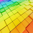 Abstract background made of rainbow colored cubes