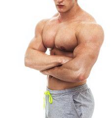 Muscular male bodybuilder, studio shot