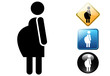 Pregnant woman pictogram and icons