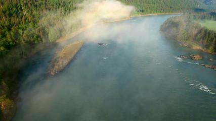 flight above mountain river