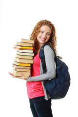 beautiful student girl holding books