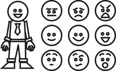 Business worker and swappable facial expressions
