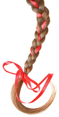 Women braid decorated with a red bow isolated on white.