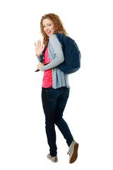 student girl walking away