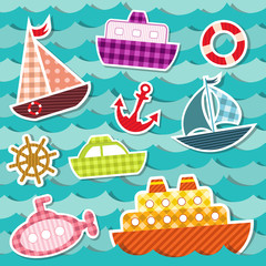 Set of sea transport stickers.
