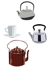 Modern and retro tea kettles isolated on white background