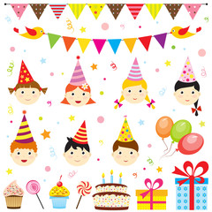 Set of vector birthday party elements with cute kids
