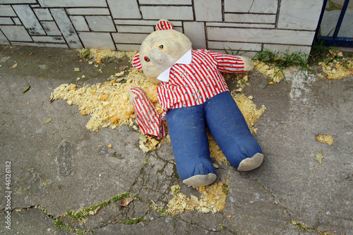 torn teddy bear