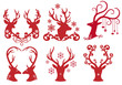 Christmas deer stag heads, vector