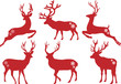 Christmas deer stags, vector set