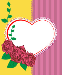 Greeting card - vector illustration of pink roses and heart
