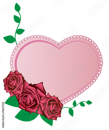 Vector illustration of pink roses and heart
