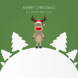 reindeer hat christmas white tree background world