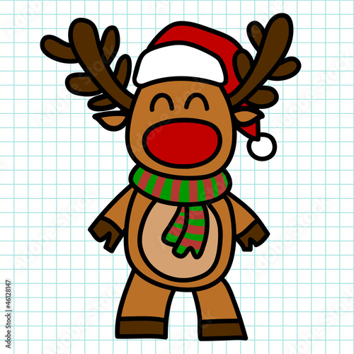 Reindeer hand draw cartoon. vector