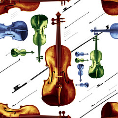 Old Dusty Violin with Bow Jazzy Endless Pattern