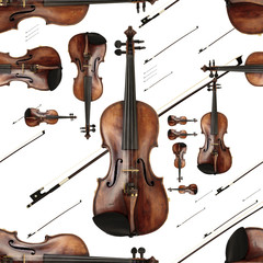 Old Dusty Violin with Bow Lively Endless Pattern