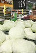 White cabbages in a big grocery